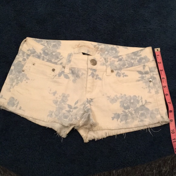 American Eagle Outfitters Pants - American Eagle floral white denim shorts